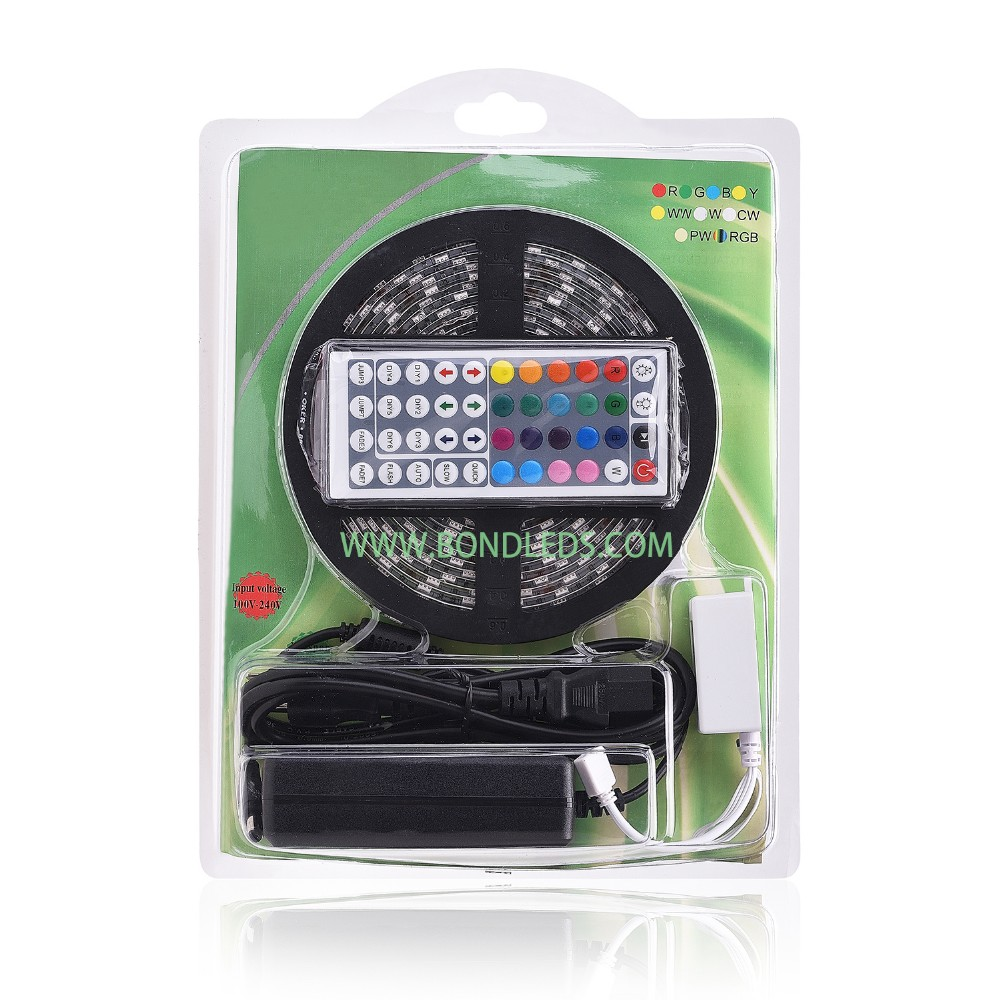 Blister Waterproof 5050 5M RGBW Led Strip 300Leds + 40 Key RGBW IR Remote Controller+12V 5A Power Supply