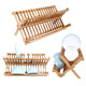 Commerical Green Kitchen Folding Wooden Bamboo Dish Rack