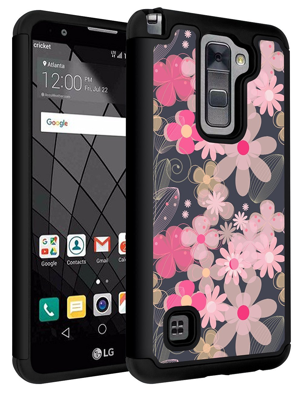 LG Stylo 2 Case,LG Stylus 2 Case,SLMY(TM) Drop Protection Dual Layer Protective Case Cover for LG G Stylo 2/Stylus 2/LS775(2016 Released,Not fit for LG G Stylo and LG Stylus 2 Plus) Flower Black