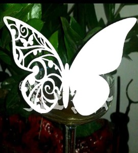 BK8 Pearly Paper Colorful butterfly on wineglass shimmer laser cut name card
