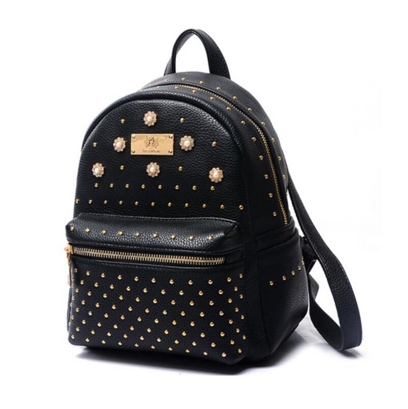 d74503203b Get Quotations · black rivet backpack women leather backpacks korean style  cute bag pack fashionable small rucksack mochila feminina