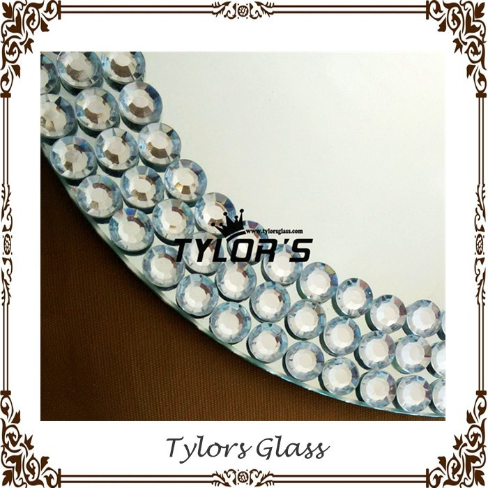 Wedding Mirror Glass Charger Plates With Decorative Beads Around By Tylors Glass Wholesale