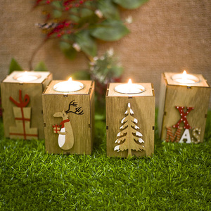 Wooden Tealight Candle Holder Christmas Candle Holder Tealight Candle Holders for Rustic Christmas Holiday Home Decorations