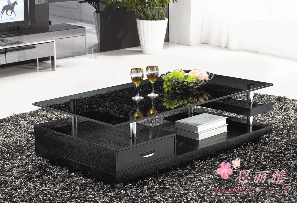 Glass Living Room Table Set: Wooden Coffee Table /glass Tea Table/wooden End Table