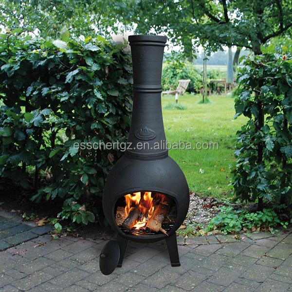 Esschert Design Cast Iron Finish Woodburning Fire Pit With Chimney