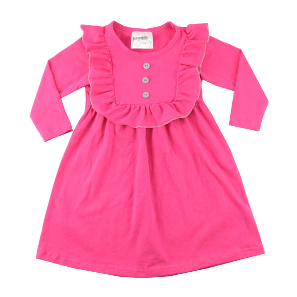 2016 Solid color african kitenge dress designs hot pink ruffle boutique children girl dress