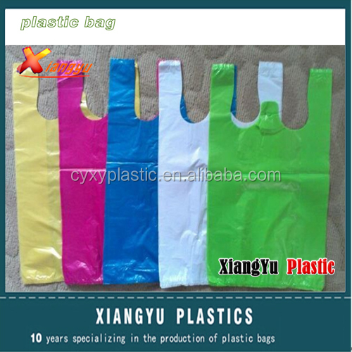 PE custom colored tshirt bag for packaging