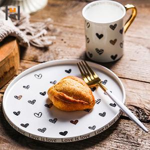 Heart shaped decal ceramic dinner set porcelain mug with gold handle