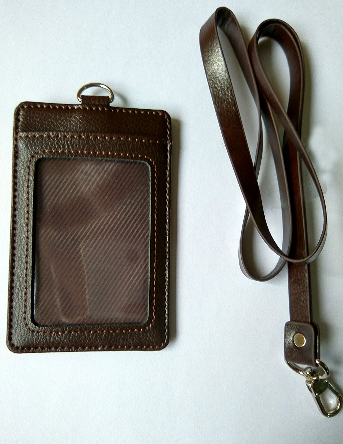 bcd6ab3de Get Quotations · AKOAK Litchi Grain Genuine Leather 2-Sided Vertical Credit  Card Holder Id Card Case Holder