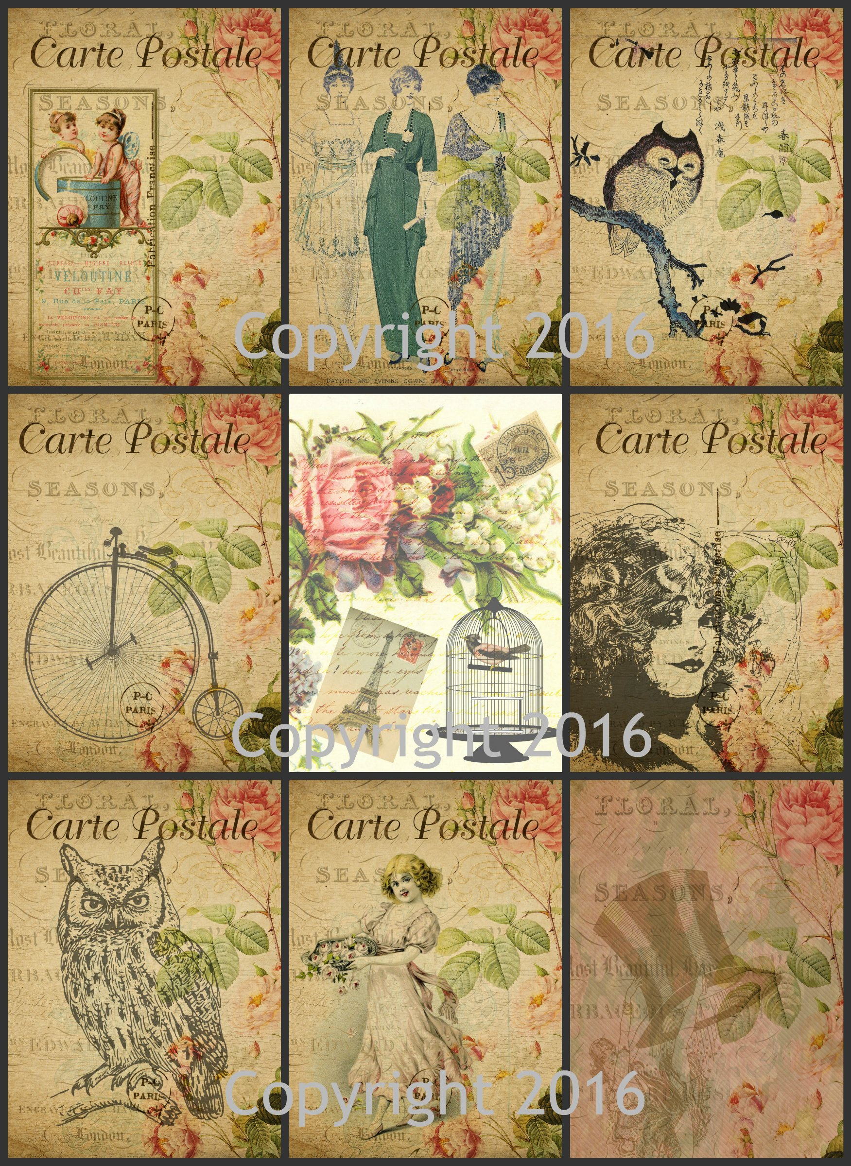 Labels Vintage Printed Alphonse Mucha Reproduction Cards Collage Sheet #104 Scrapbooking Decoupage