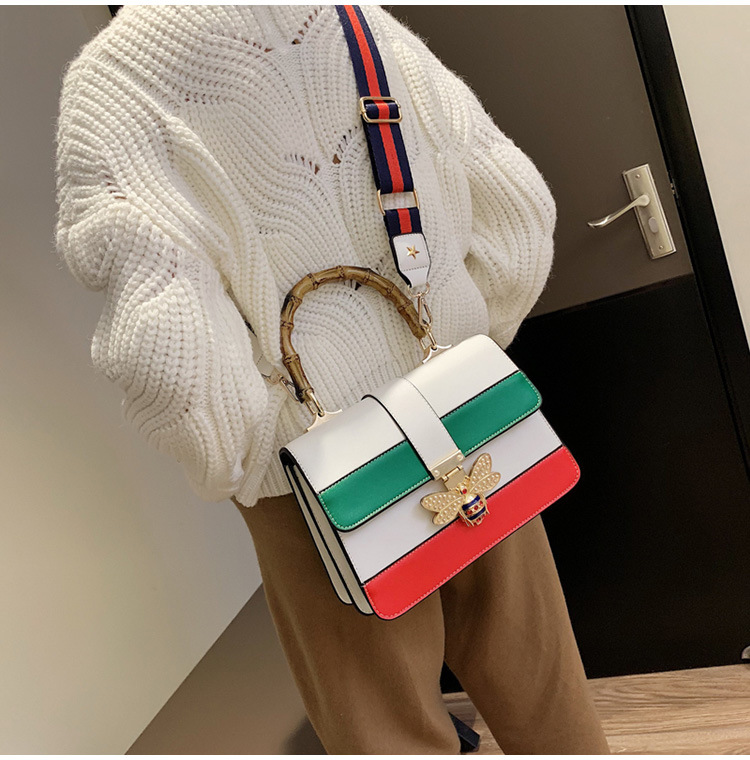 RKY0670 Angedanlia 3 colors trendy lady crossbody bag bee accessories pu square handbag with semi circle wood handle-6