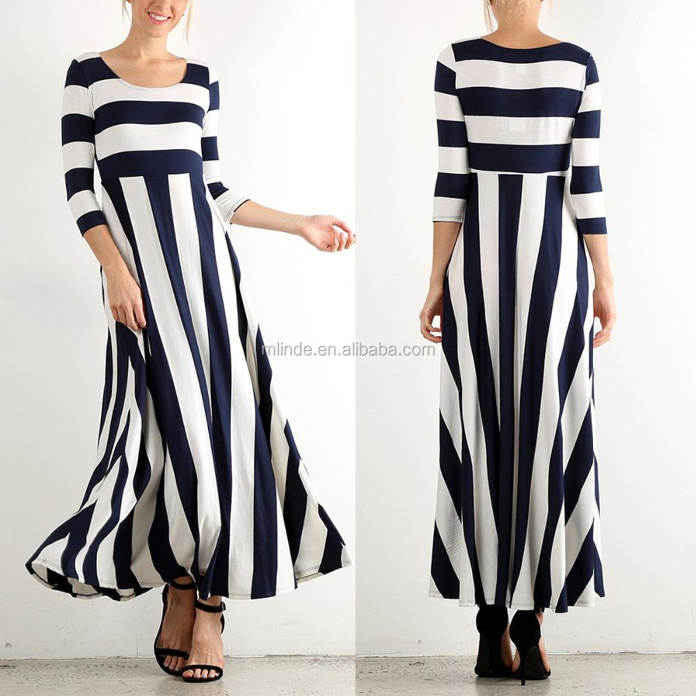 Women Navy & White Chevron Stripe Maxi Dress Plus Size Long Sleeve ...