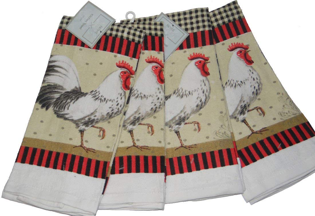 Home Concepts Rooster Design Country Kitchen Towels Set of 4 towels 15 x 25 inches