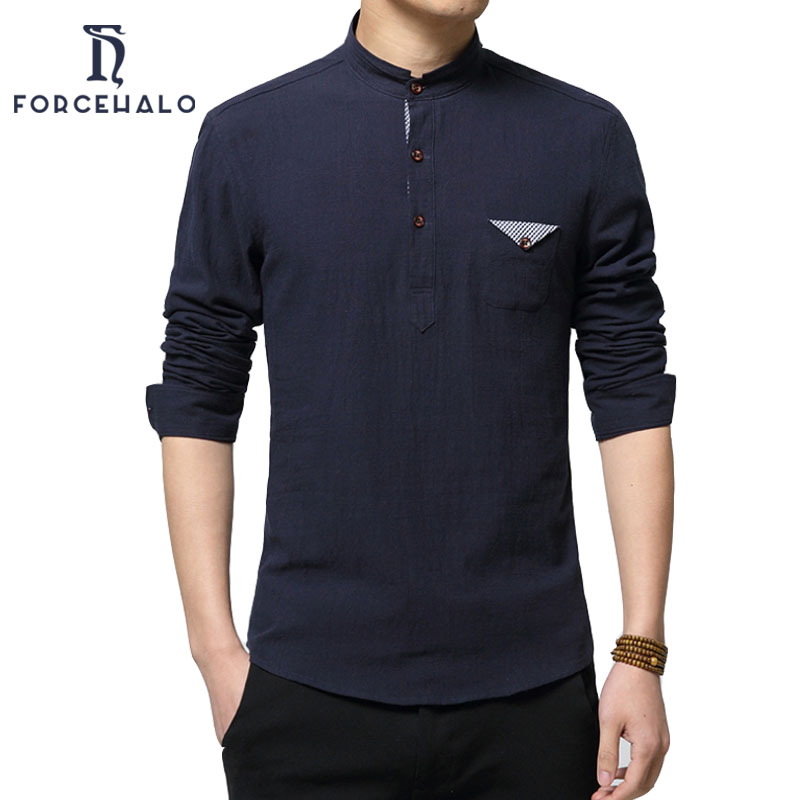 2016 New Fashion Spring Autumn Men Linen Shirt Casual