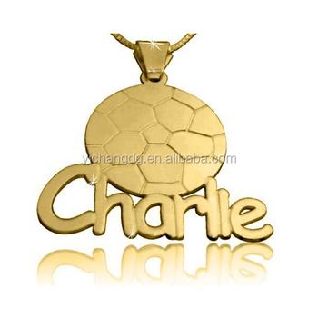 personalize design gold soccer nameplate pendant buy nameplate
