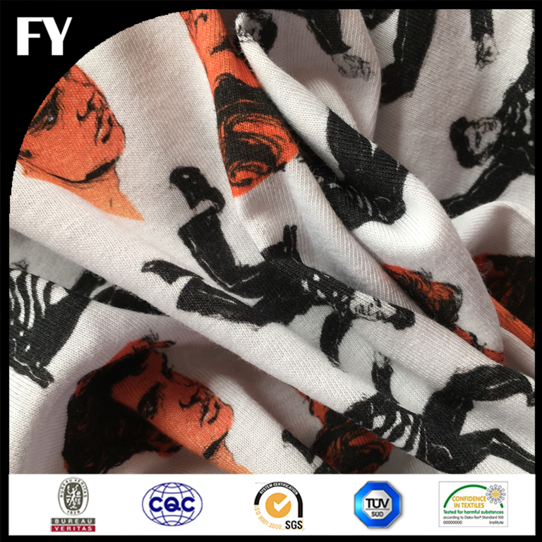 Organic material GOTS certificated custom printed 100% cotton knitted fabric