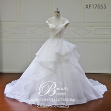 fashion sexy see through bodice ball gown ruffle wedding dress 2017, visable bones bridal gown with flower beadings