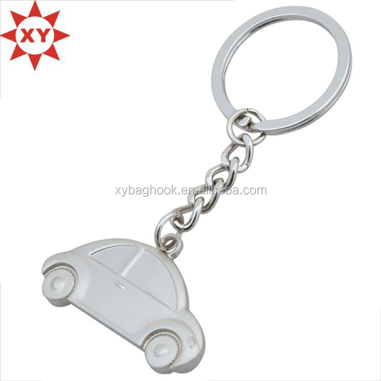 promotion car shape silver metal engraving logo with key chains and key rings