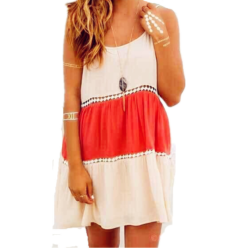 f4d9e391798 2015 Casual Dress Brand Slim Mixed Colors Lacing Spaghetti Strap Sleeveless Dress  Women Summer Mini Sexy Short Beach Dress