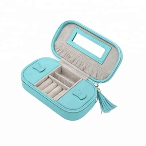 Custom Embossing Logo Travel Leather Women Accessories Organizer Ring Holder Jewelry Box