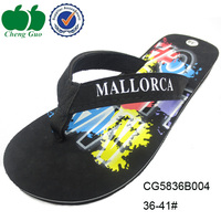 Promotional beach shoes flip flops black platform custom printed flip flops