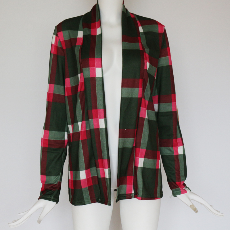 Lange Mouwen Plaid Elleboog Patch Vest Meisjes Plaid Shirt
