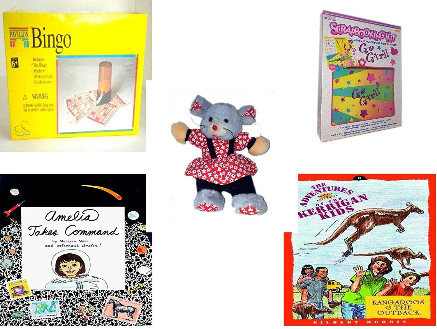 """Girl's Gift Bundle - Ages 6-12 [5 Piece] - Pavilion Bingo Game - Memories Forever Go Girl. Scrapbooking Kit - Play-By-Play Red Flower Patterned Girl Mouse Plush 11"""" - Amelia Takes Command Hardcover"""