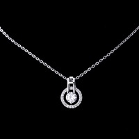 Wholesale 925 silver round circle with glass pendant necklace