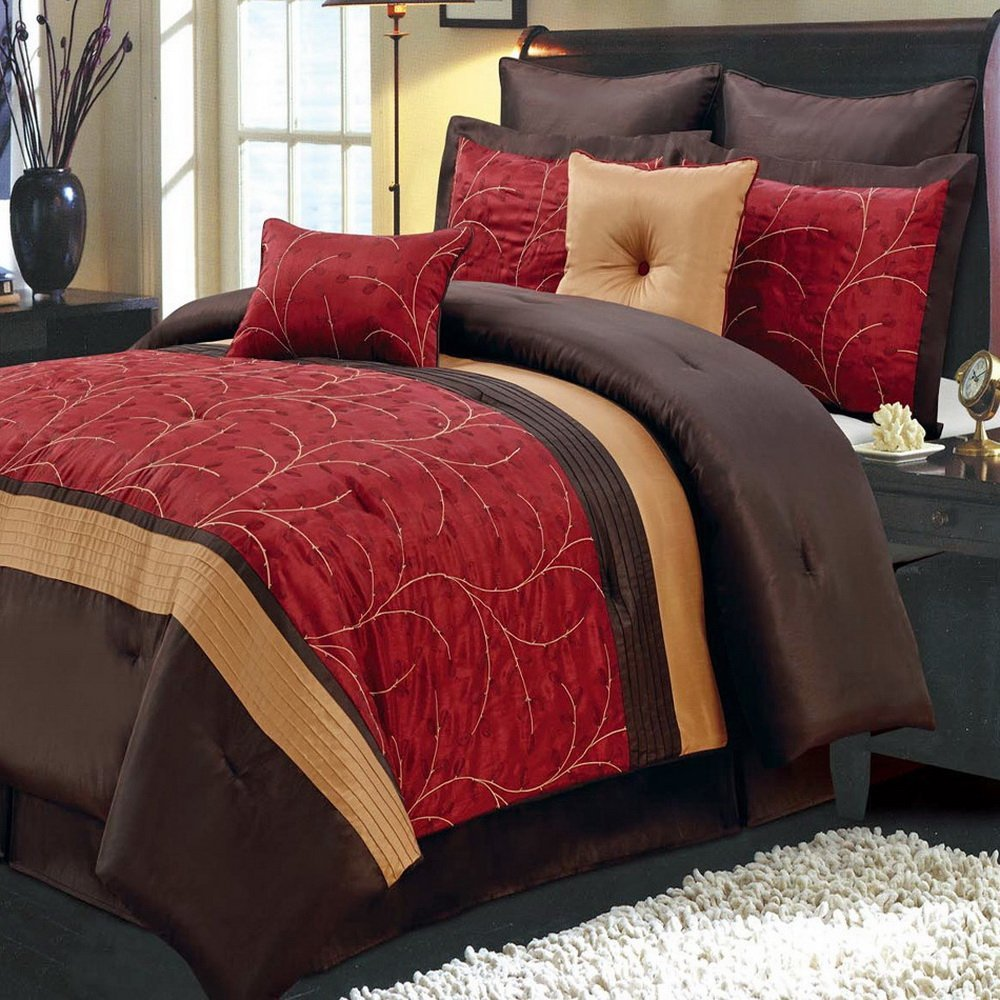 d8cf99f198 Get Quotations · Comforter Set 8 Piece King Size (106x92) Luxury Complete Bed  Set - with Shams