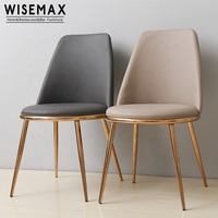 Nordic Design Restaurant Cafe Dining Room Rose Gold Metal Frame Upholstered Leather Dining Chair