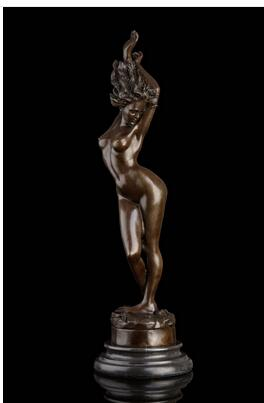 Western Art Naked Sexy Statue nude Girl Bronze Sculpture narcissism woman Figures Art Bronze sculpture home decoration