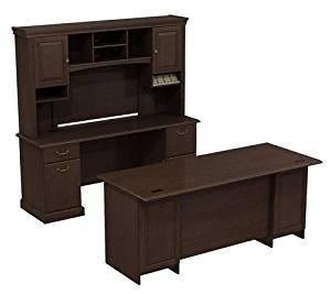 "Bush Executive Desk, Credenza & Hutch 72""W Double Ped Desk (B/B/F, F/F) 72"" W X 24"" D Double Pedestal Kneespace Credenza Constructed W/100% Thermally Fused Laminate - Mocha Cherry"