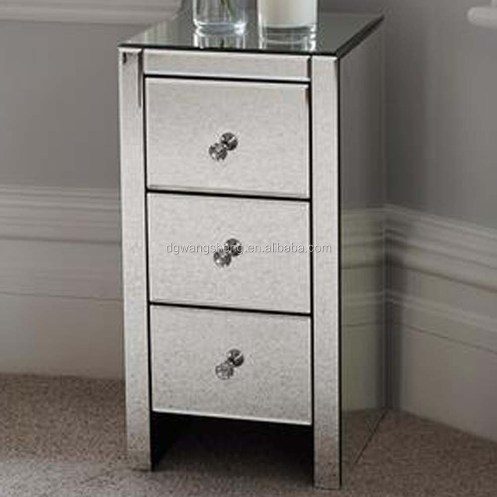 Mordern Bedroom Mirrored Glass Bedside Table With 3 Drawers And Glass  Handless - Buy Bedside Table,Mirrored Glass Bedroom Furniture,Side Tables  ...