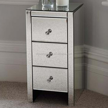 Mordern Bedroom Mirrored Glass Bedside Table With 3 Drawers And ...