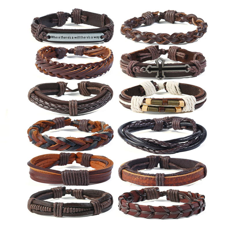 12 piece per Set Leather Bracelet DIY Style Leather Rope Braided Bracelet Wholesale Price Welcome Customer Design Jewelry