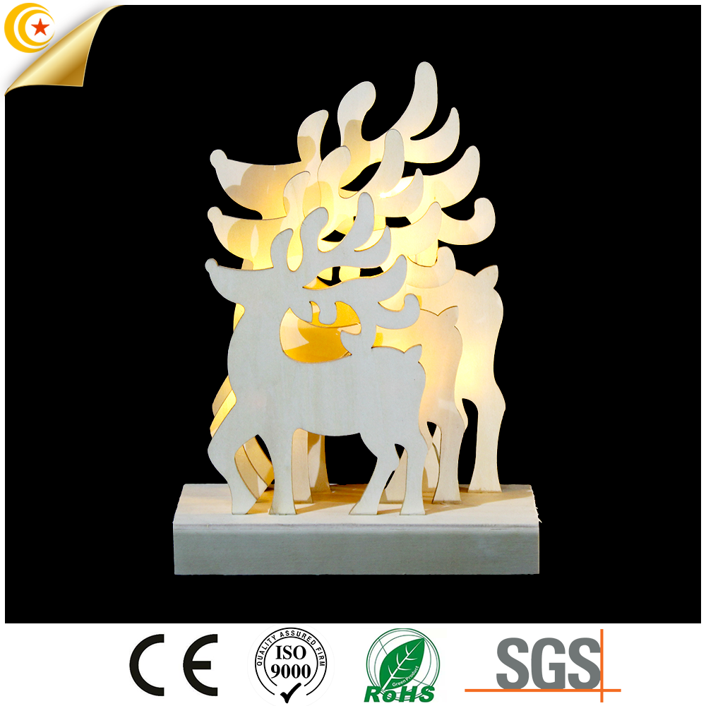 Wholesale wooden decoration xmas light 3D deer shaped led light gift for kids