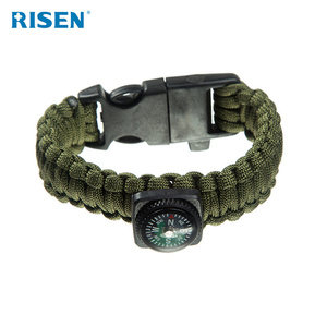 Colored 5 in 1 Outdoor Survival Gear Escape Paracord Bracelet Flint / Whistle / Compass / Scraper