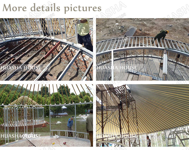 Popular waterproof steel frame mongolian yurt tent for sale