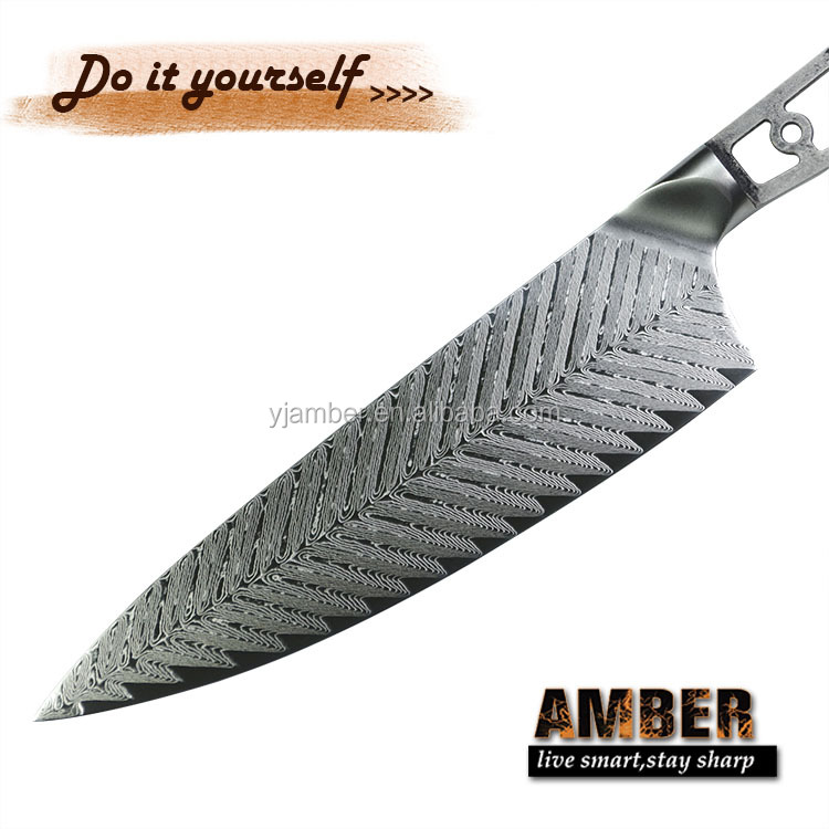 Diy 8 Inch Japanese Steel 67 Layer Damascus Steel Chef Knife Blanks - Buy  Damascus Steel Knife Blanks,Japanese Steel Chef Knife,Knife Blank Product  on