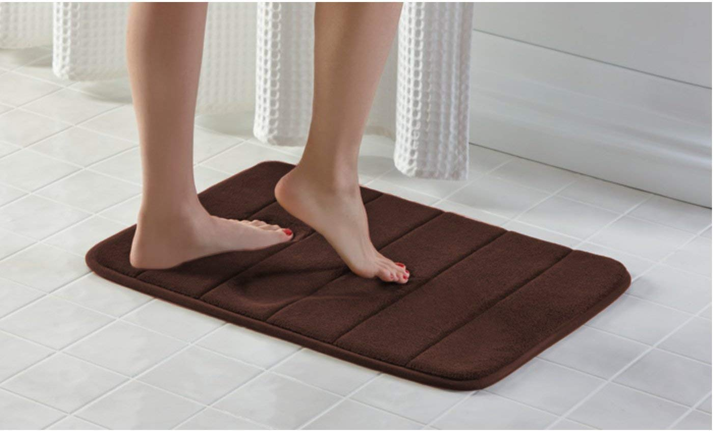 Townhouse Memory Foam Bath Mat Soft, Luxury Cushioned Pad for Bathroom Floors ,Non-Slip, Absorbent, Baby Shower Mats , Cushions and Dries Feet,Bathroom Rug Carpet – Brown 17X24