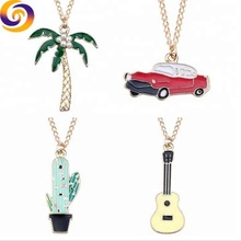 2019 Wholesale Custom metal enamel cactus guitar 카 코코넛 tree 목걸이