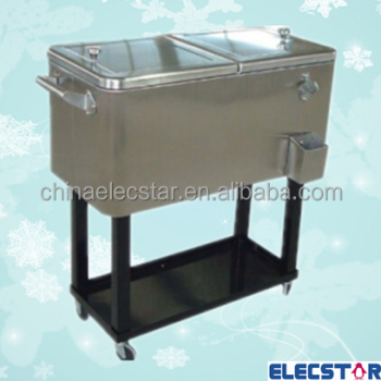 Cooler Cart With Wheel, Rolling Patio Cooler Cart/stainless Cooler