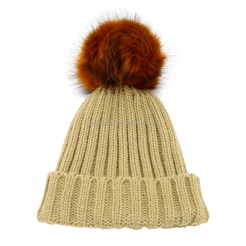 Acrylic rib thick knit hat beanie with high quality fake fur pompom