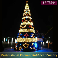 Exterior 7 8 9 12 meter height artificial Christmas tree with deer and star