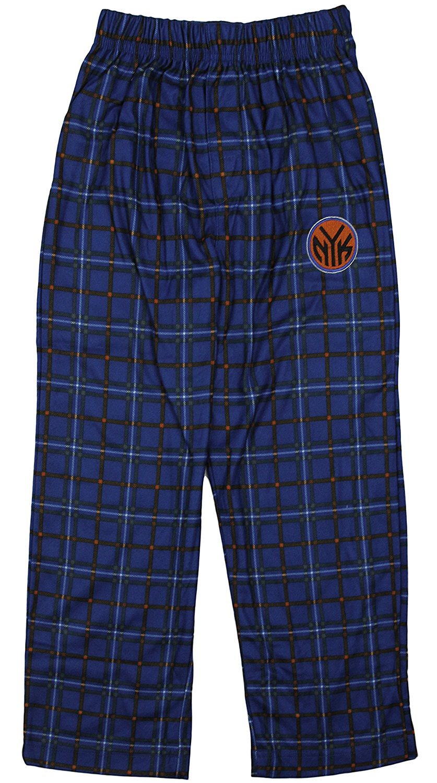 New York Knicks NBA Little Boys Kids Plaid Lounge Pajama Pants, Blue