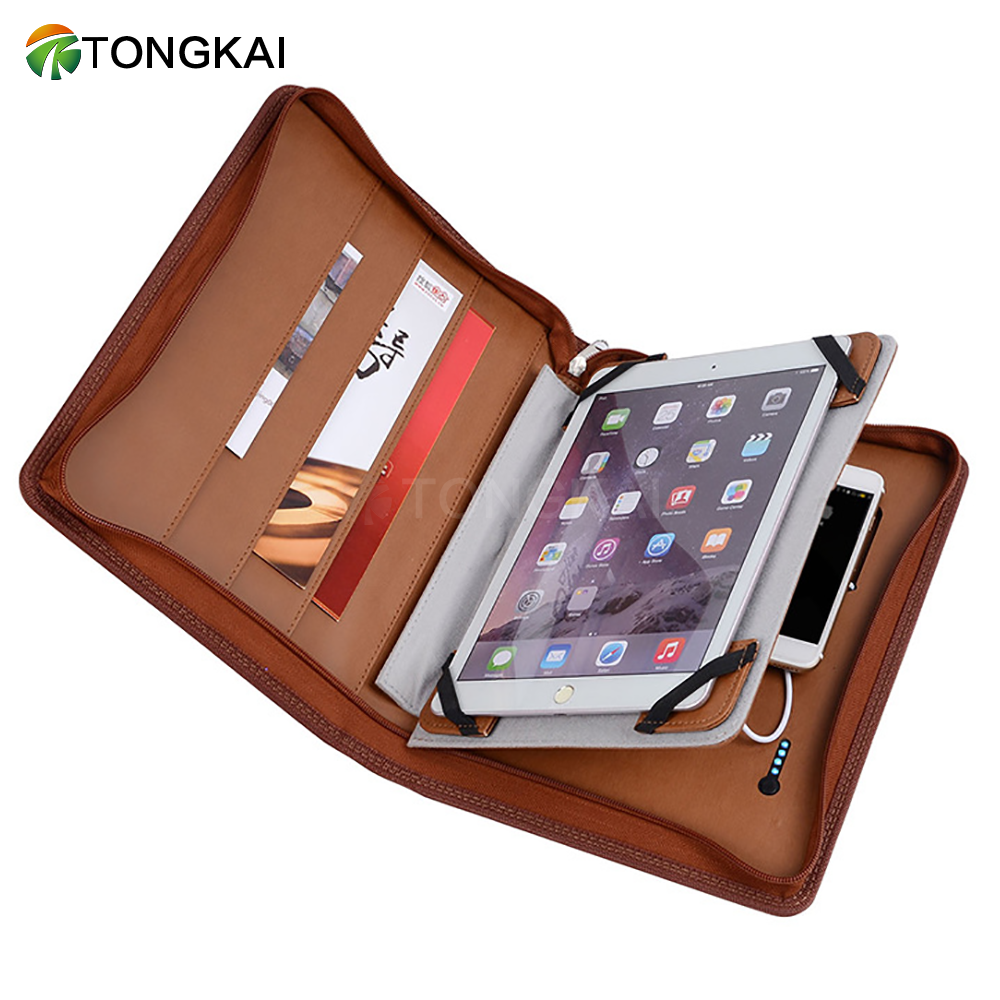 Best businessman gifts leather portfolio  4000/6000/8000mah folder with power bank and usb a4 file folder