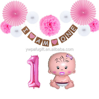 Birthday Party Decorations 1st Number 1 Baby Girl Foil Balloons I Am One Banner
