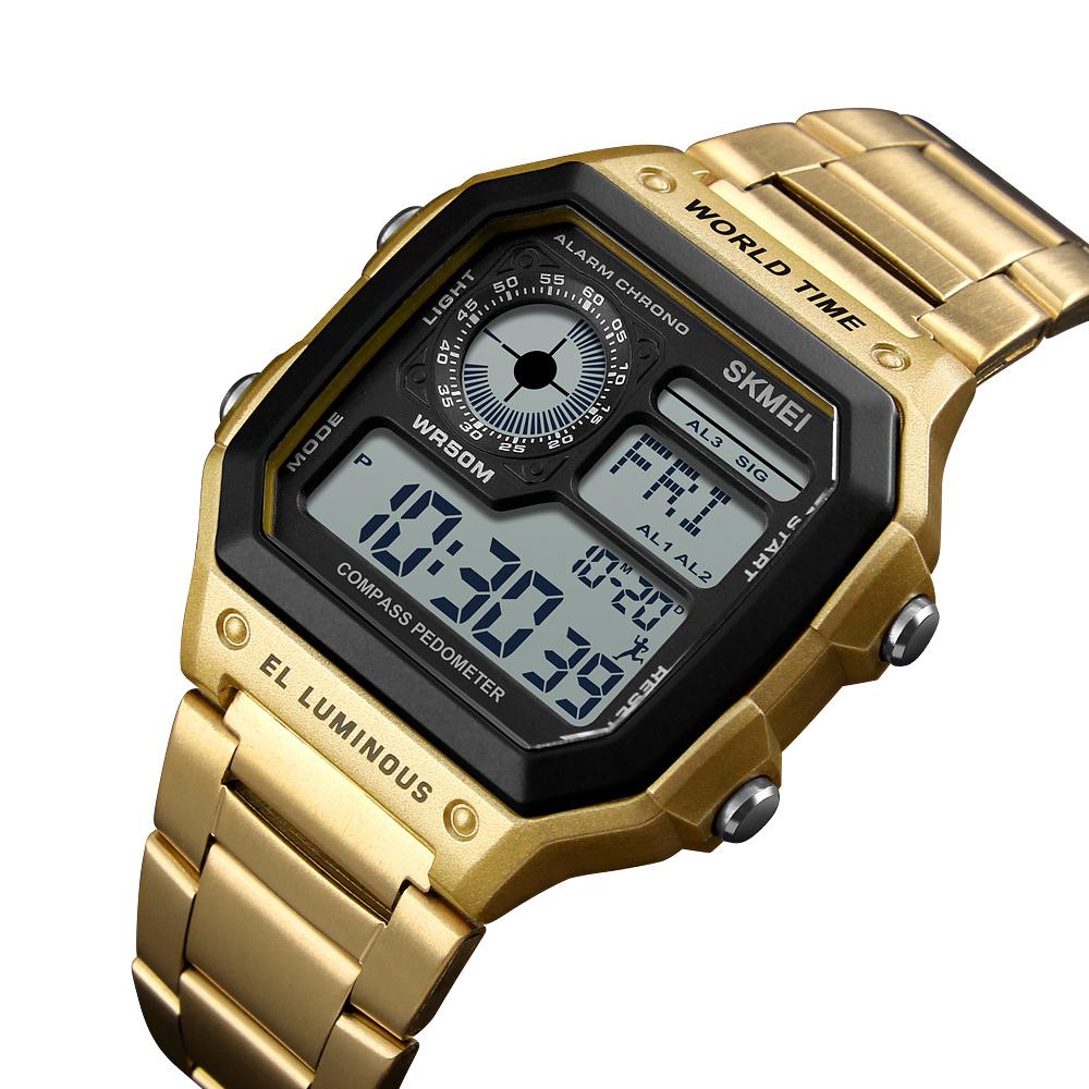 skmei men's digital watch instructions manual, waterproof compass pedometer multifunction wristwatch