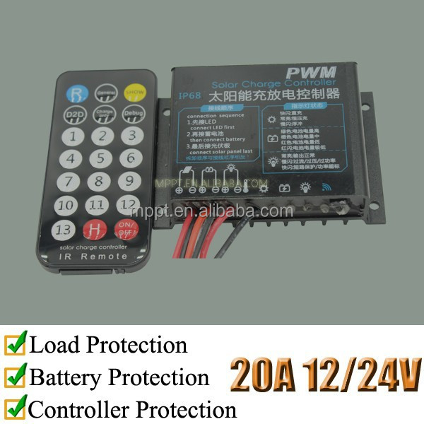 20A remote solar street light controller, 12/24 Volts, IR1220, neutral packing