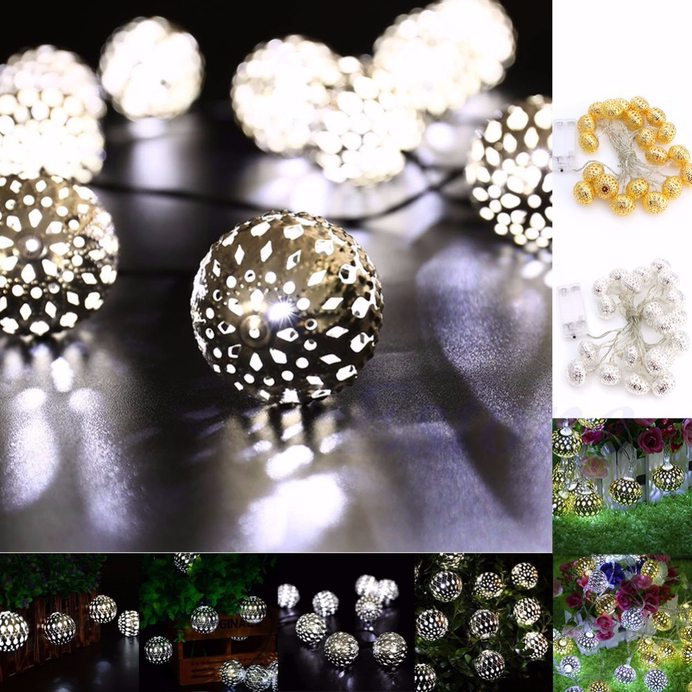 Silver hollow ball 3v 1m/2m/3m christmas led copper wire mini srting lights